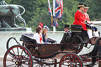 Prince Andrew; Princess Eugenie; Princess Beatrice Queen's Birthday Parade, Trooping The Colour, UK, 12 June 2010:  For piQtured Sales contact: Ian@Piqtured.com +44(0)791 626 2580 (Picture by Richard Goldschmidt/Piqtured)