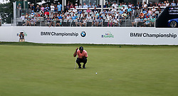 September 7, 2018 - Newtown Square, Pennsylvania, United States - Tiger Woods lines up a putt on the 18th green during the first round of the 2018 BMW Championship. (Credit Image: © Debby Wong/ZUMA Wire)