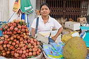 26 JUNE 2006 - SIEM REAP, CAMBODIA: A fruit vendor in the main market in Siem Reap, Cambodia, site of the world famous Angkor Wat. Photo by Jack Kurtz / ZUMA Press