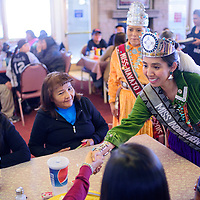 020715       Cable Hoover<br /> <br /> Miss Indian New Mexico Nicole Johnny, right, and Miss Navajo Nation McKeon Dempsey greet guests at Earl's Restaurant during the Tip A Royalty fundraiser in Gallup Saturday.