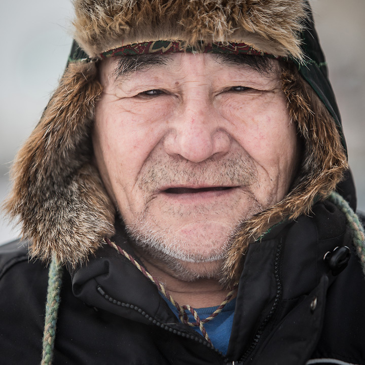 Retired musher Alfred Attla at the end of Friday's first heat of Rondy's World Championship Sled Dog Rases in downtown Anchorage