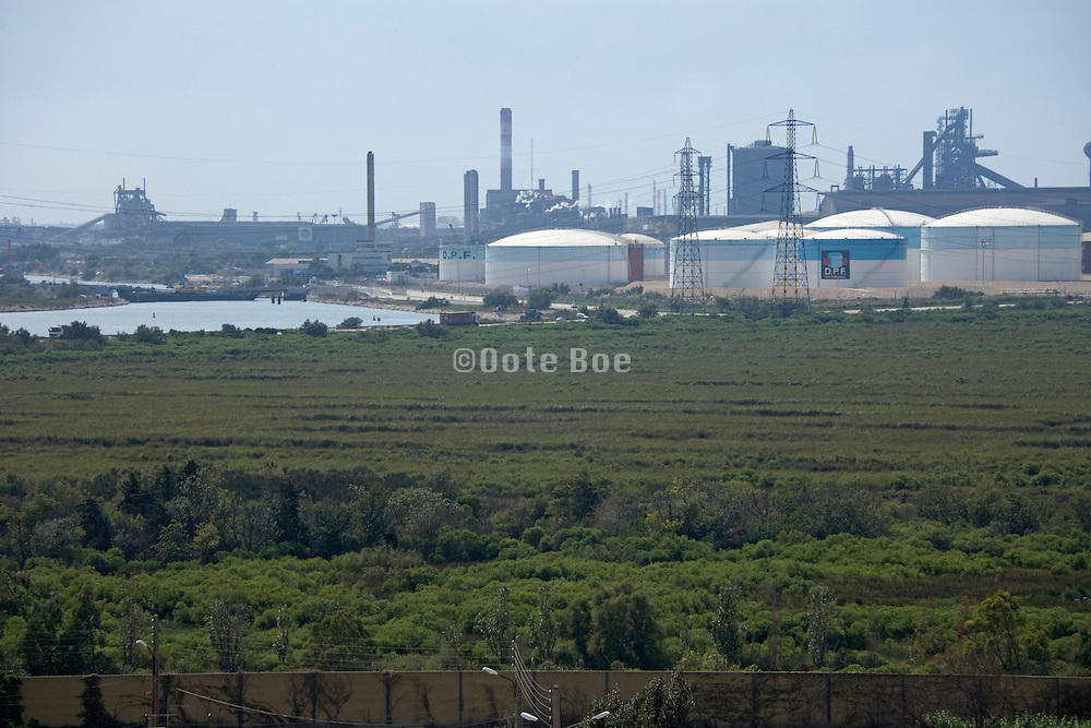 oil refinery near a rivers bedding France Provence