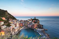 Sunset in Vernenza Italy, Vernenza is on o the five ancient fishing villages of Cinque Terre on the Italian Riviera.
