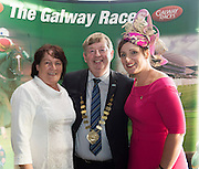 Nora King, Councillor Michael Connolly and Caitriona King at the launch of The Galway Races 2016 Summer Festival which runs from the 25th of July to the 31st of July in Galway City. Photo: Andrew Downes :