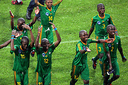 Jul 01, 2007 - Lyon, France - The under 12 team of South Africa celebrate victory at the Danone Nations Cup 2007. South Africa were crowned champions of the Danone Nations under 12 tournament held in France. (Credit Image: © Ed LEMAISTRE/Panoramic/ZUMA Press)