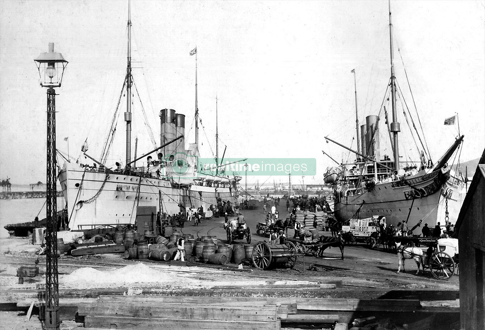 Harbour Jetty-1.jpg<br /> The Union-Castle mail steamer Dunottar Castle, left, with sister ship Scot loading cargo for the east coast, at No 2 jetty after arriving from Britain in the early 1900s. The picture was taken from what is today the foyer of the Table Bay Hotel at the V&A Waterfront.