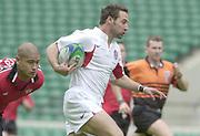 24/05/2002<br /> Sport - Rugby Union<br /> IRB World Sevens Series - Twickenham<br /> England vs Canada - Pool B<br /> Ben Gollings on the break.<br />    [Mandatory Credit, Peter Spurier/ Intersport Images]<br />    [Mandatory Credit, Peter Spurier/ Intersport Images]