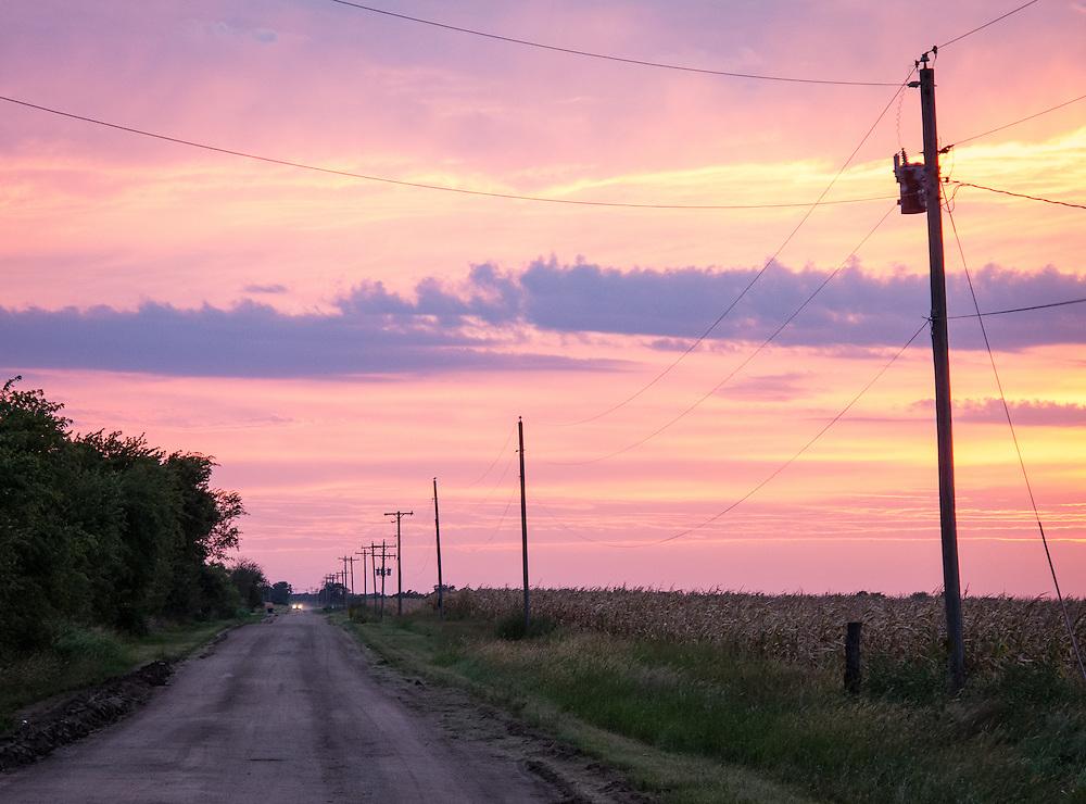 August sunset south of Wichita.