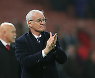 An emotional Claudio Ranieri manager of Leicester City applauds the fans during the English Premier League match at the Bet 365 Stadium, Stoke on Trent. Picture date: December 17th, 2016. Pic Simon Bellis/Sportimage