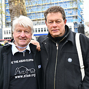 Stanley Johnson join the 5th Global March for Elephants and Rhinos march against extinction and trophy hunting murdering and killing animals for blood spots and ivory trade on 13 April 2019, London, UK.