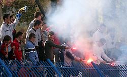 Fans of Koper at football match  NK Koper vs NK Domzale in 29th round of Prva Liga Telekom Slovenije, on April 19, 2008, in Bonifika stadium in Koper. Match ended with  2:2 draw. (Photo by Vid Ponikvar / Sportal Images)