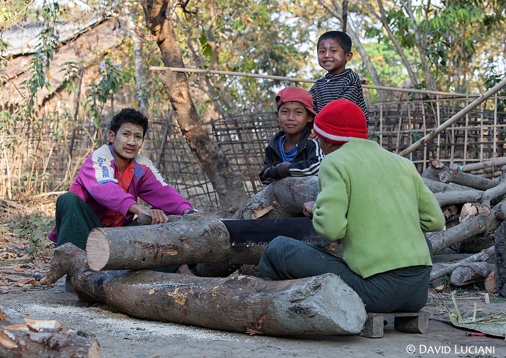Young men sawing a log in Graw Raw Ma Ni Village.