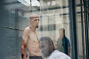 Alcuni trattenuti del CIE di Gradisca durante l'ora d'aria nello spazio a loro concesso.<br /> Gradisca d'Isonzo (GO) ,10 settembre 2013. Daniele Stefanini / OneShot
