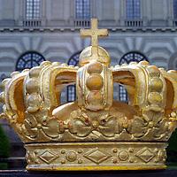 Europe, Sweden, Stockholm. Ornate crown detail at the Royal Palace in Stockholm.