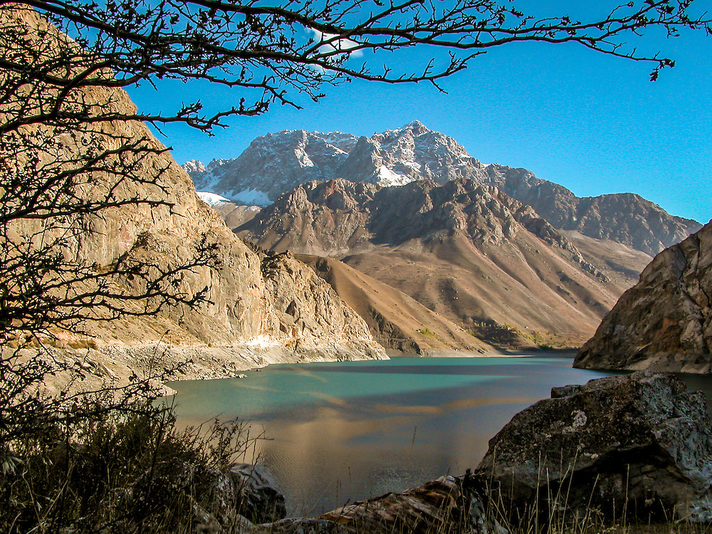 Stock landscape photograph of the Sixth Lake, one of the Seven Lakes in the Shing Valley of Tajikistan