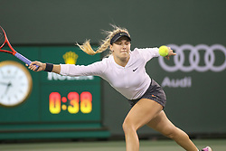March 7, 2019 - Indian Wells, CA, U.S. - INDIAN WELLS, CA - MARCH 07: Eugenie Bouchard (CAN) stretches for a forehand during the BNP Paribas Open on March 7, 2019 at Indian Wells Tennis Garden in Indian Wells, CA. (Photo by George Walker/Icon Sportswire) (Credit Image: © George Walker/Icon SMI via ZUMA Press)