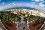 Israel, Haifa panoramic view of the Haifa Bay and Bahai gardens