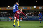 AFC Wimbledon attacker Shane McLoughlin (19) winning a header during the EFL Sky Bet League 1 match between AFC Wimbledon and Ipswich Town at the Cherry Red Records Stadium, Kingston, England on 11 February 2020.