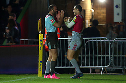 Tim Visser of Harlequins celebrates with Jamie Roberts of Harlequins after scoring a try - Mandatory by-line: Robbie Stephenson/JMP - 06/10/2017 - RUGBY - Twickenham Stoop - London, England - Harlequins v Sale Sharks - Aviva Premiership