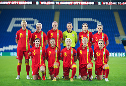 CARDIFF, WALES - Thursday, September 26, 2013: Wales' players line up for a team group photograph before the FIFA Women's World Cup Canada 2015 Qualifying Group 6 match against Belarus at the Cardiff City Stadium. Back row L-R: Sophie Ingle, Lauren Price, Helen Bleazard, goalkeeper Nicola Davies, Nicola Cousins, Hayley Ladd. Front row L-R: Helen Ward, Natasha Harding, captain Jessica Fishlock, Kylie Davies, Sarah Wiltshire.  (Pic by David Rawcliffe/Propaganda)