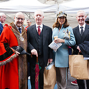 Lady Mayoress Rachel in blue jacket attended the annually Sheep Drive over the River Thames 2021 at Southwark bridge, London, UK. on 25th September 2021.