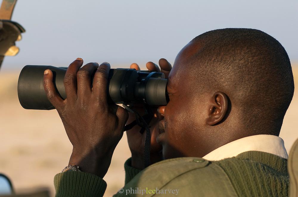 Kenyan safari guide animal spotting from vehicle, Amboseli National Park, Kenya