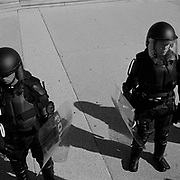 U.S. Capitol Police in riot gear guarding the west front steps to the Capitol Building from protestors during an Iraq War march that began at the White House in Washington D.C., USA.<br /> <br /> (Credit Image: © Louie Palu/ZUMA Press)