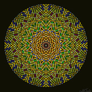 12 point star radiating with fabric textured bold west African colors and patterns.