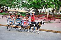 Kids enjoy a goat cart ride around the central square in Santa Clara, Cuba.