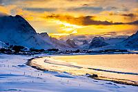 Winter landscape between Flaksta and Ramberg, Lofoten Islands, Arctic, Northern Norway.