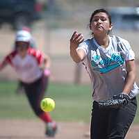 011113      Cayla Nimmo<br /> <br /> Navajo Prep Eagle Jazmine Kinsel (16) pitches the State Championship Softball Game against Eunice held in Rio Rancho Wednesday.<br /> <br /> 05/14/14