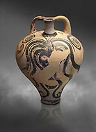 Mycenaean stirrup jar with painted octopus designs, Mycenae Chamner Tombs, 14th-13th Cent BC.  National Archaeological Museum Athens. Cat no 2772.  Grey art Background .<br /> <br /> If you prefer to buy from our ALAMY PHOTO LIBRARY  Collection visit : https://www.alamy.com/portfolio/paul-williams-funkystock/mycenaean-art-artefacts.html . Type -   Athens    - into the LOWER SEARCH WITHIN GALLERY box. Refine search by adding background colour, place, museum etc<br /> <br /> Visit our MYCENAEN ART PHOTO COLLECTIONS for more photos to download  as wall art prints https://funkystock.photoshelter.com/gallery-collection/Pictures-Images-of-Ancient-Mycenaean-Art-Artefacts-Archaeology-Sites/C0000xRC5WLQcbhQ