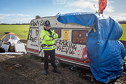 © Licensed to London News Pictures . 21/03/2014 . Barton Moss , Manchester , UK . The Barton Moss anti-fracking demonstration camp today (Friday 21st March 2014) . Photo credit : Joel Goodman/LNP