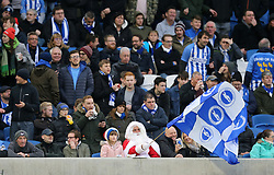 Brighton fans in the stands show their support during the Premier League match at the AMEX Stadium, Brighton.