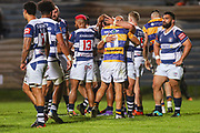 Bay of Plenty and Auckland players embrace after the Mitre 10 Cup match played at Rotorua International Stadium in Rotorua on Friday 2nd October 2020.<br /> Copyright photo: Alan Gibson / www.photosport.nz