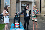 JANE MCGILL; WINSTON; THE MAYOR OF WANDSWORTH COUNCILLOR ADRIAN KNOWLES; EMMA NORTH,  WITH THE SANE BLACK DOG, Pop-UP Horsebox Gallery Preview of the Celebration of the Horse in art today  at the Wandsworth Museum,  West Hill. London SW18. 14 August 2012.