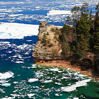 """""""Miner's Castle on Ice"""" 2<br /> <br /> Scenic Miner's Castle in Pictured Rocks National Lake Shore during May of 2014!!<br /> <br /> The Great Lakes by Rachel Cohen"""