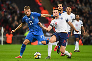 Italy Forward Ciro Immobile (17) and England Midfielder Eric Dier (8) battle for the ball during the Friendly match between England and Italy at Wembley Stadium, London, England on 27 March 2018. Picture by Stephen Wright.