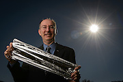 9/19/12 Huntsville, AL.  Les Johnson, Deputy Manager of the Advanced Concepts Office at the George C. Marshall Space Flight Center in Huntsville, AL, holds a piece of  Aluminized CP-1 Solar Sail material.<br /> <br /> Photo by Michael A. Schwarz