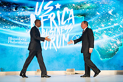 NEW YORK, NEW YORK - SEPTEMBER 21: (L to R) U.S. President Barack Obama prepares to shake hands with former New York City mayor Michael Bloomberg before speaking at the U.S.-Africa Business Forum at the Plaza Hotel, September 21, 2016 in New York City. The forum is focused on trade and investment opportunities on the African continent for African heads of government and American business leaders.<br /> Photo by Drew Angerer/Pool/ABACAPRESS.COM