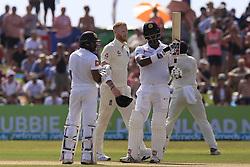 November 7, 2018 - Galle, Sri Lanka - Sri Lankan cricketer Angelo Mathews celebrates after scoring 50 runs during the 2nd day's play of the first test cricket match between Sri Lanka and England at Galle International cricket stadium, Galle, Sri Lanka. 11-07-2018  (Credit Image: © Tharaka Basnayaka/NurPhoto via ZUMA Press)