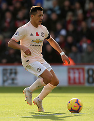 """Manchester United's Alexis Sanchez during the Premier League match at The Vitality Stadium, Bournemouth. PRESS ASSOCIATION Photo. Picture date: Saturday November 3, 2018. See PA story SOCCER Bournemouth. Photo credit should read: Mark Kerton/PA Wire. RESTRICTIONS: EDITORIAL USE ONLY No use with unauthorised audio, video, data, fixture lists, club/league logos or """"live"""" services. Online in-match use limited to 120 images, no video emulation. No use in betting, games or single club/league/player publications."""