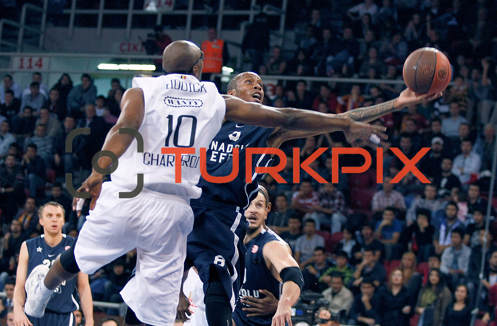 Anadolu Efes's Terence KINSEY (R) during their Turkish Airlines Euroleague Basketball Group C Game 2 match Anadolu Efes between Belgacom Spirou  at Abdi Ipekci Arena in Istanbul, Turkey, Wednesday, October 26, 2011. Photo by TURKPIX