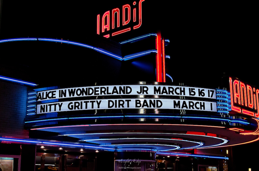 The Landis Theater marquis on the night that Nitty Gritty Dirt Band perfomed in the theater.