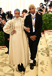 Helen Lasichanh and Pharrell Williams attending the Metropolitan Museum of Art Costume Institute Benefit Gala 2018 in New York, USA. PRESS ASSOCIATION Photo. Picture date: Picture date: Monday May 7, 2018. See PA story SHOWBIZ MET Gala. Photo credit should read: Ian West/PA Wire