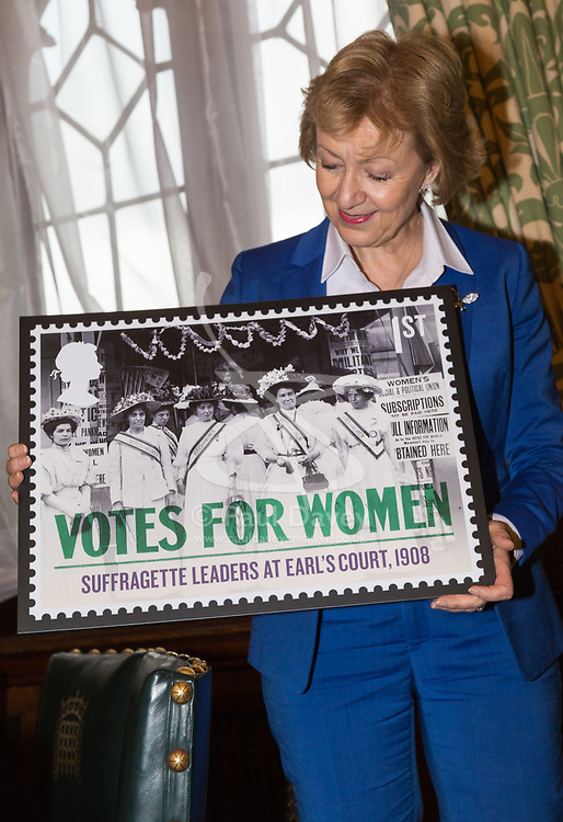 Royal Mail - London - Leader of the House of Commons Andrea Leadsom poses in her office at the House of Commons with the Royal Mail's new stamp design  that celebrates votes for women. February 05 2018.