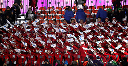 Korean Unification flags are waved ahead of the Opening Ceremony at the PyeongChang Olympic Stadium in South Korea.