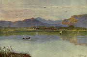 At Lakeside, looking towards Constantia, Cape Town From the book ' The Cape peninsula: pen and colour sketches ' described by Réné Juta and painted by William Westhofen. Published by A. & C. Black, London  J.C. Juta, Cape Town in 1910