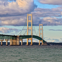 """Majestic Mackinac""""<br /> <br /> A lovely view of the majestic Mackinac Bridge. The longest suspension bridge in Michigan. Beautiful clouds and sunshine complete this wonderful image!!<br /> <br /> Mackinac Bridge by Rachel Cohen"""