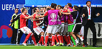 GOAL CELEBRATION - Wales's Gareth Bale celebrates scoring his sides first goal with the Wales bench<br /> <br /> Photographer Kevin Barnes/CameraSport<br /> <br /> International Football - 2016 UEFA European Championship - Group B - Wales v Slovakia - Saturday 11th June 2016 - Nouveau Stade de Bordeaux, Bordeaux<br /> <br /> World Copyright © 2016 CameraSport. All rights reserved. 43 Linden Ave. Countesthorpe. Leicester. England. LE8 5PG - Tel: +44 (0) 116 277 4147 - admin@camerasport.com - www.camerasport.com